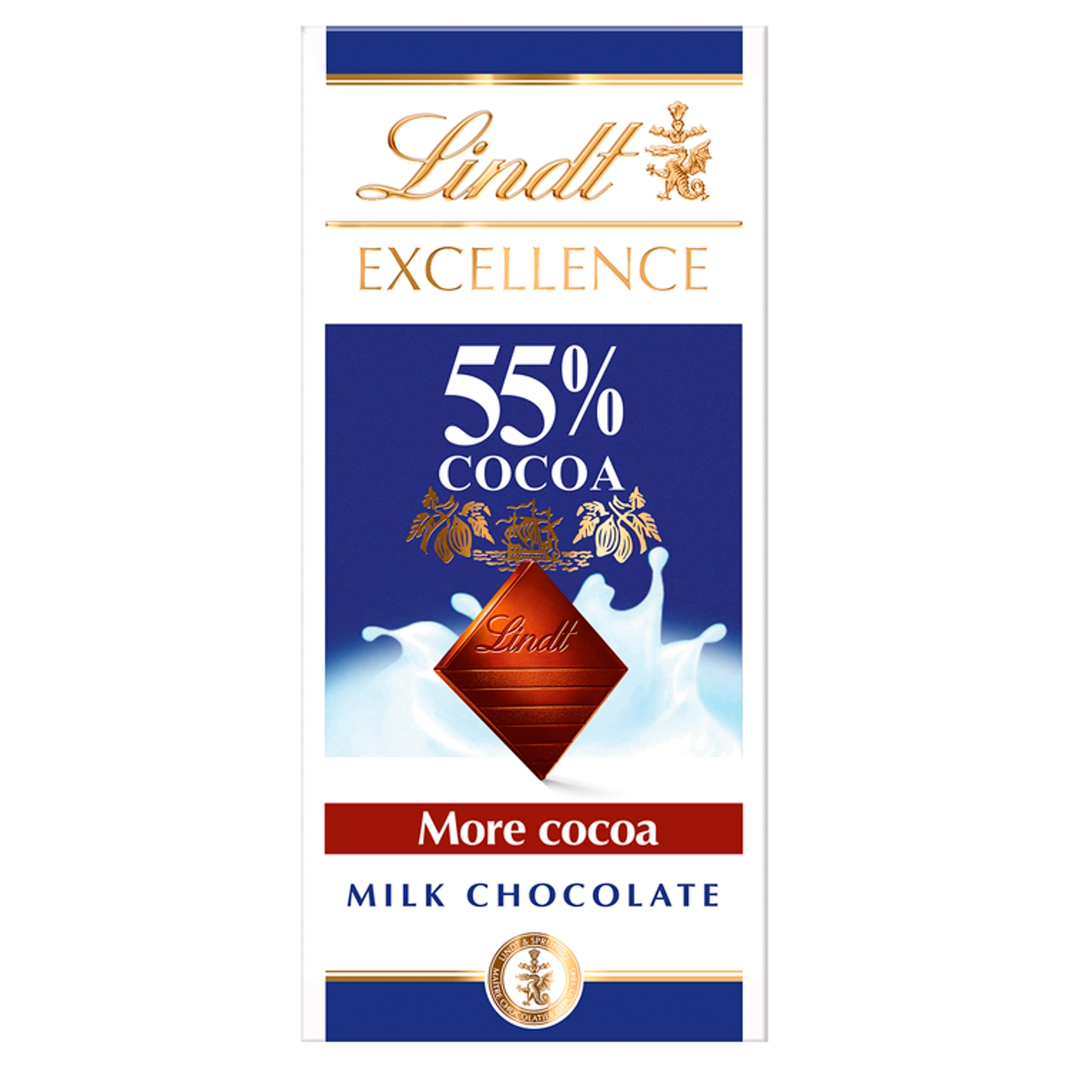 Lindt Excellence Milk 55% Cocoa Chocolate Bar 80g