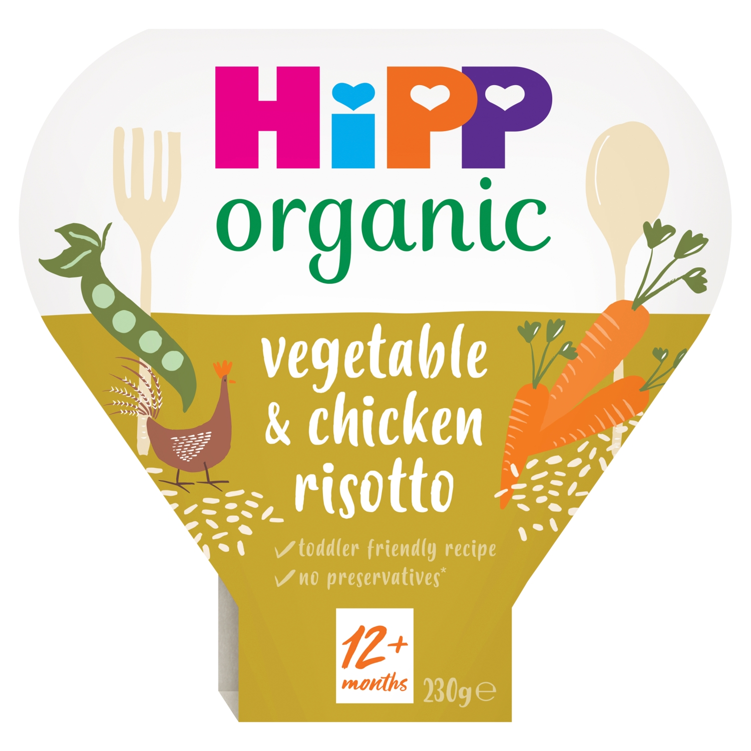 HiPP Organic Vegetable & Chicken Risotto Toddler Tray Meal 1-3 Years 230g