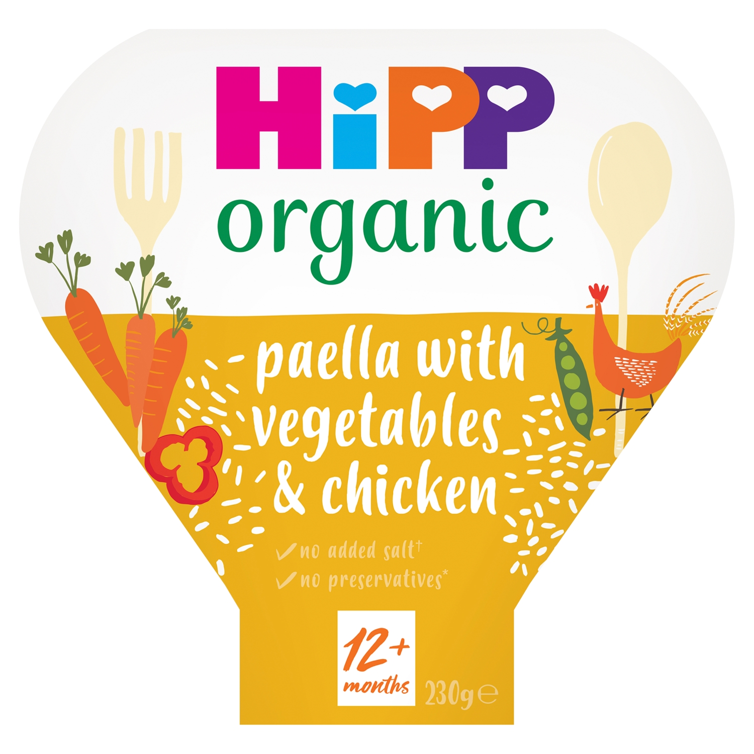 HiPP Organic Paella with Vegetables & Chicken Toddler Tray Meal 1-3 Years 230g