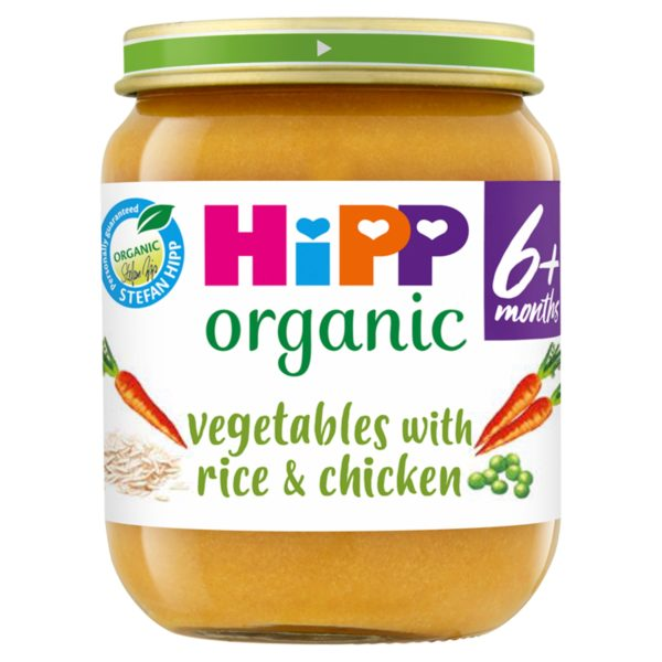 HiPP Organic Vegetables with Rice And Chicken Baby Food Jar 6+ Months 125g