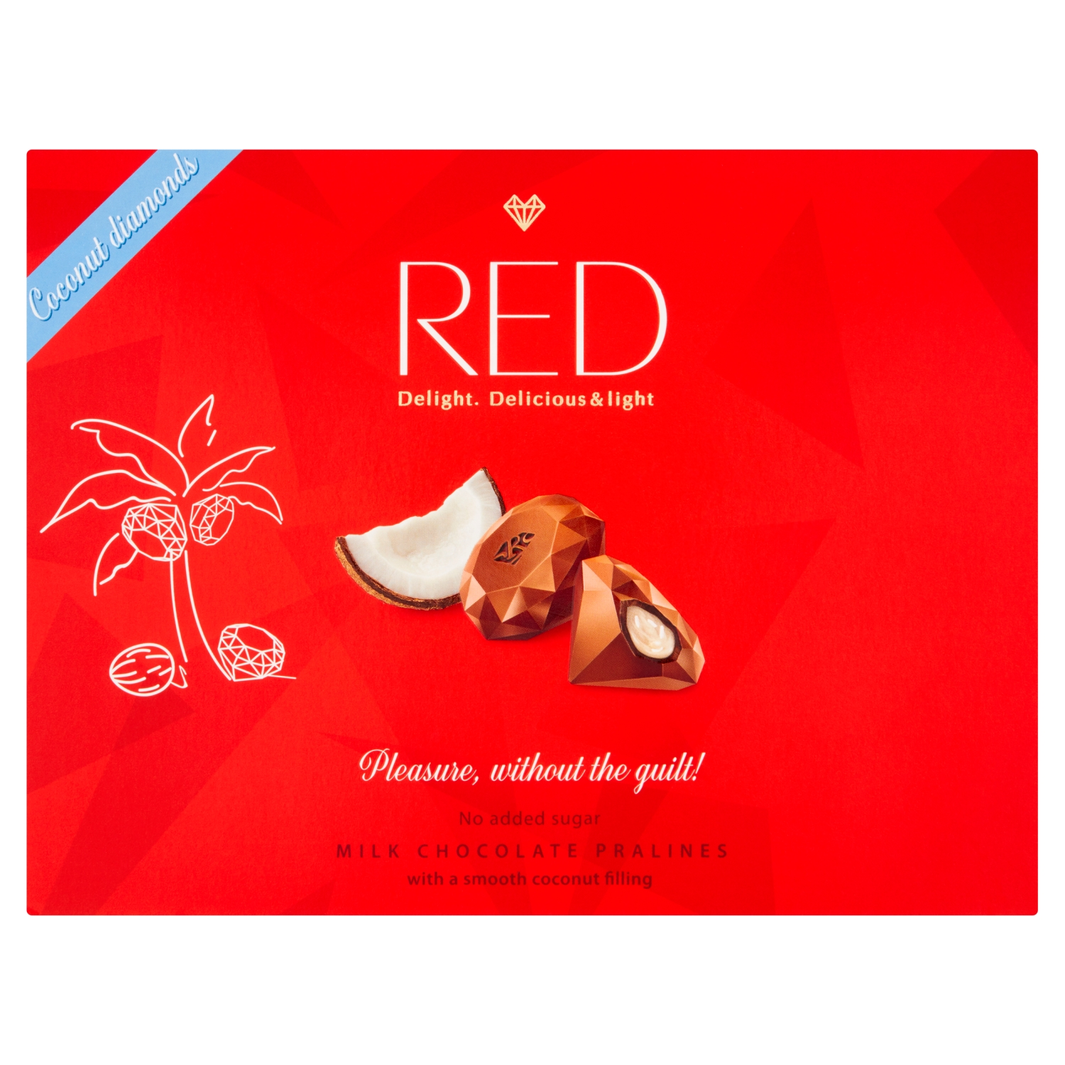 Red Milk Chocolate Pralines with a Smooth Coconut Filling 132g