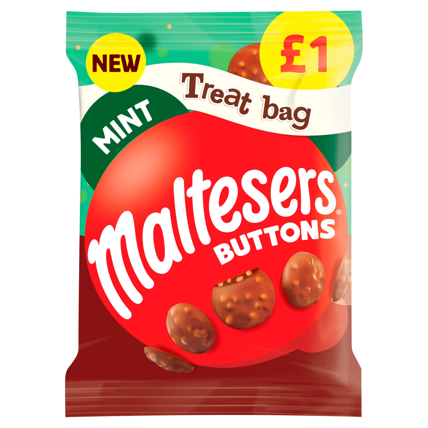 Maltesers Buttons Mint Chocolate £1 PMP Treat Bag 68g