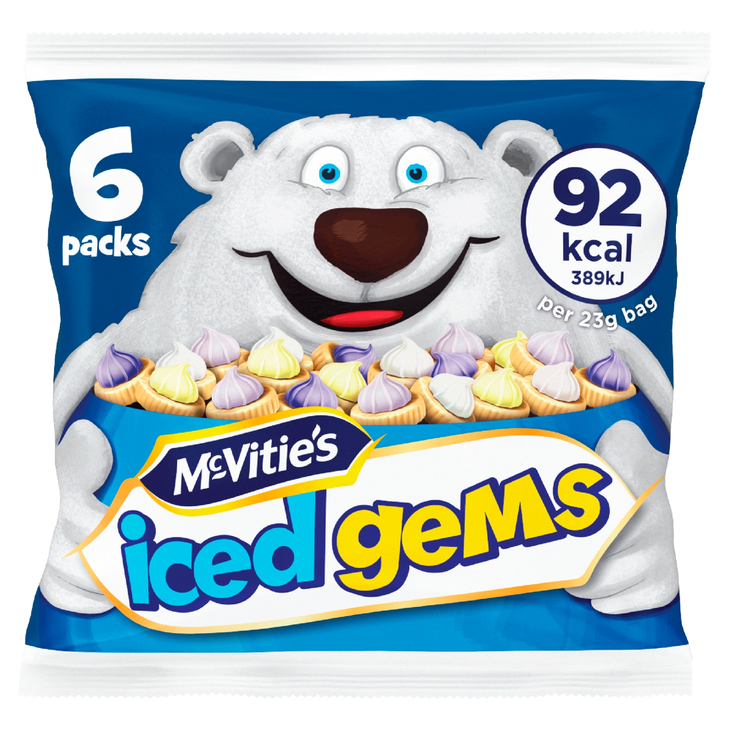 McVitie's Iced Gems Fruit Flavour Iced Topped Biscuits 6 x 23g