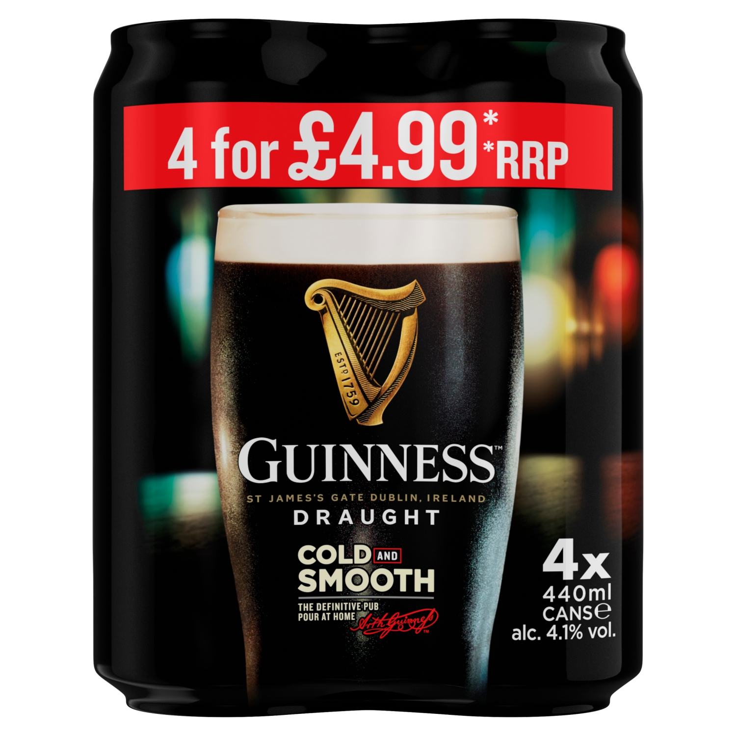 Guinness Draught Stout Beer 4 x 440ml Can Price Marked Pack