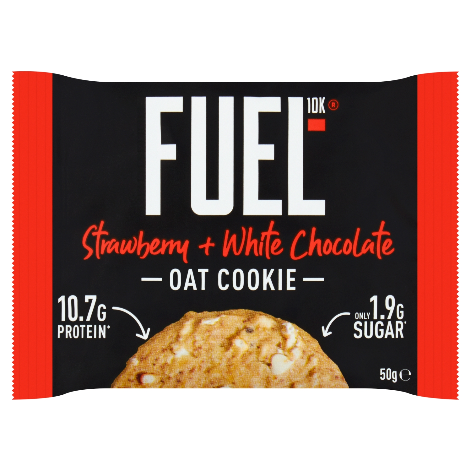 FUEL10K High Protein Strawberry + White Chocolate Breakfast Oat Cookie 50g