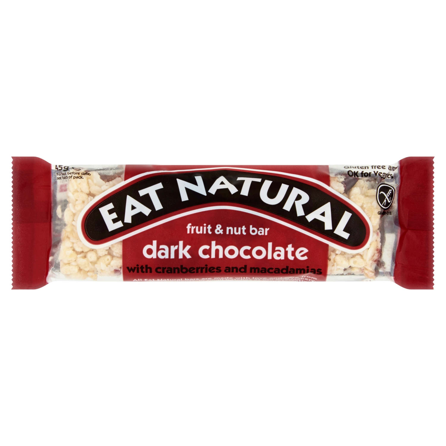 Eat Natural Fruit & Nut Bar Dark Chocolate with Cranberries and Macadamias 45g