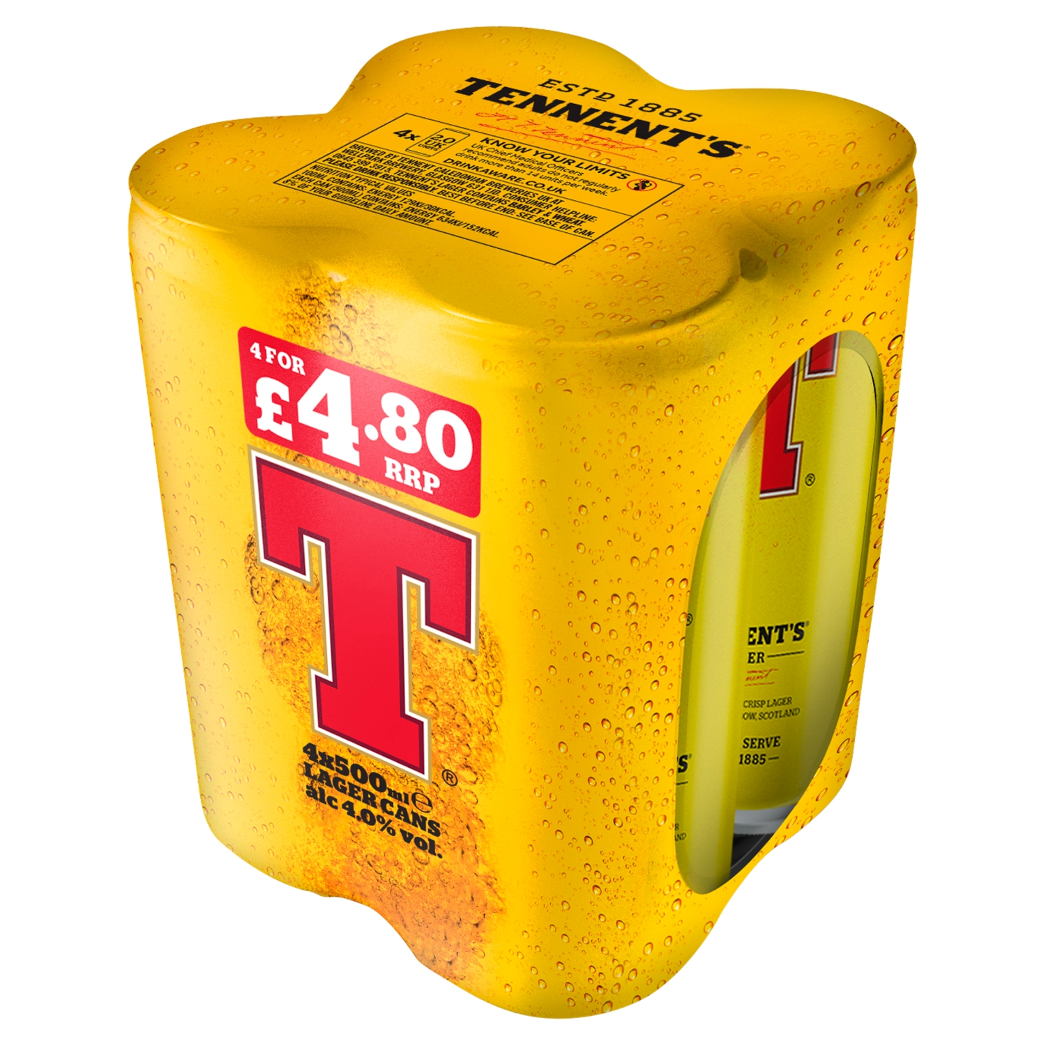 Tennent's Lager Beer 4 x 500ml