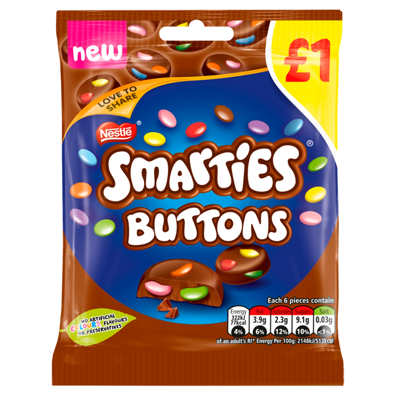 Smarties Buttons Milk Chocolate Sharing Pouch 78g PMP £1