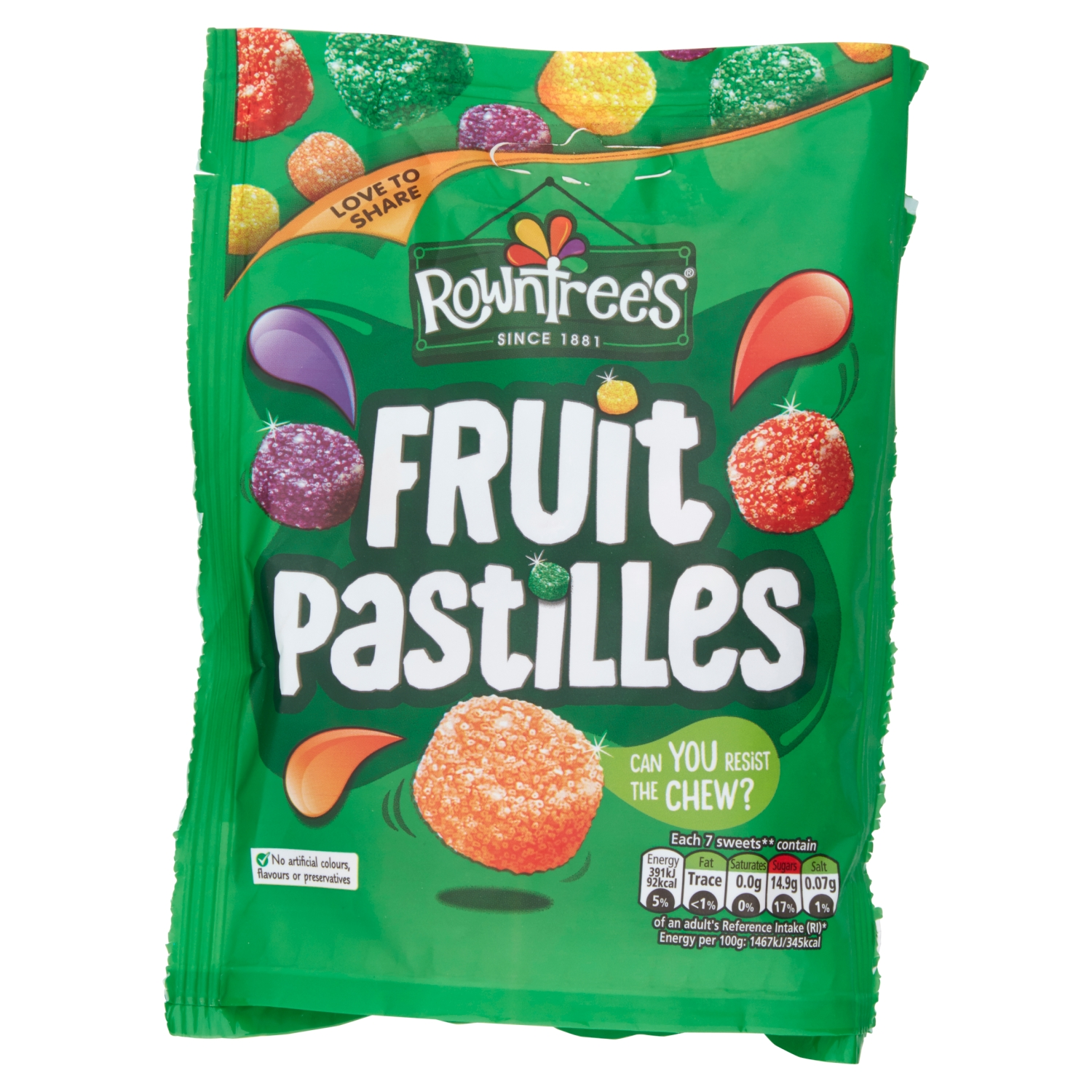 Rowntree's Fruit Pastilles Sweets Sharing Pouch 150g