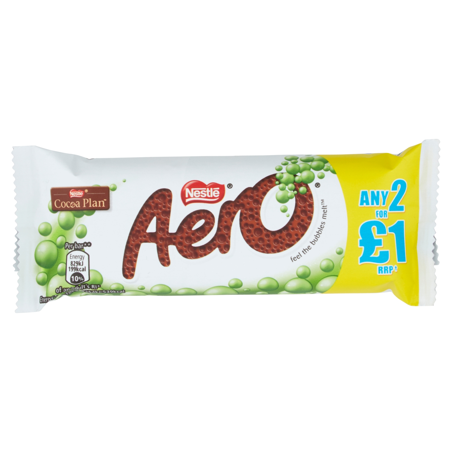 Aero Bubbly Peppermint Mint Chocolate Bar 36g PMP 2 for £1