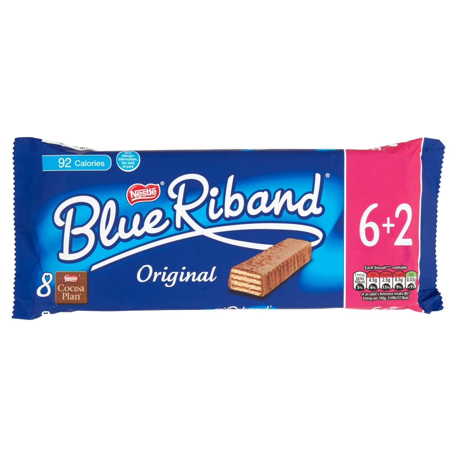 Blue Riband Milk Chocolate Wafer Biscuits Bar Multipack 6+2 Pack