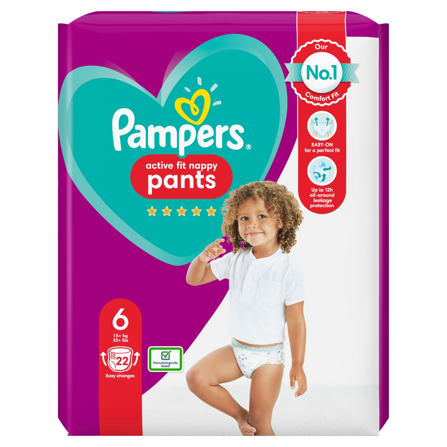 Pampers Active Fit Nappy Pants Size 6, 22 Nappies, 15kg+, Essential Pack